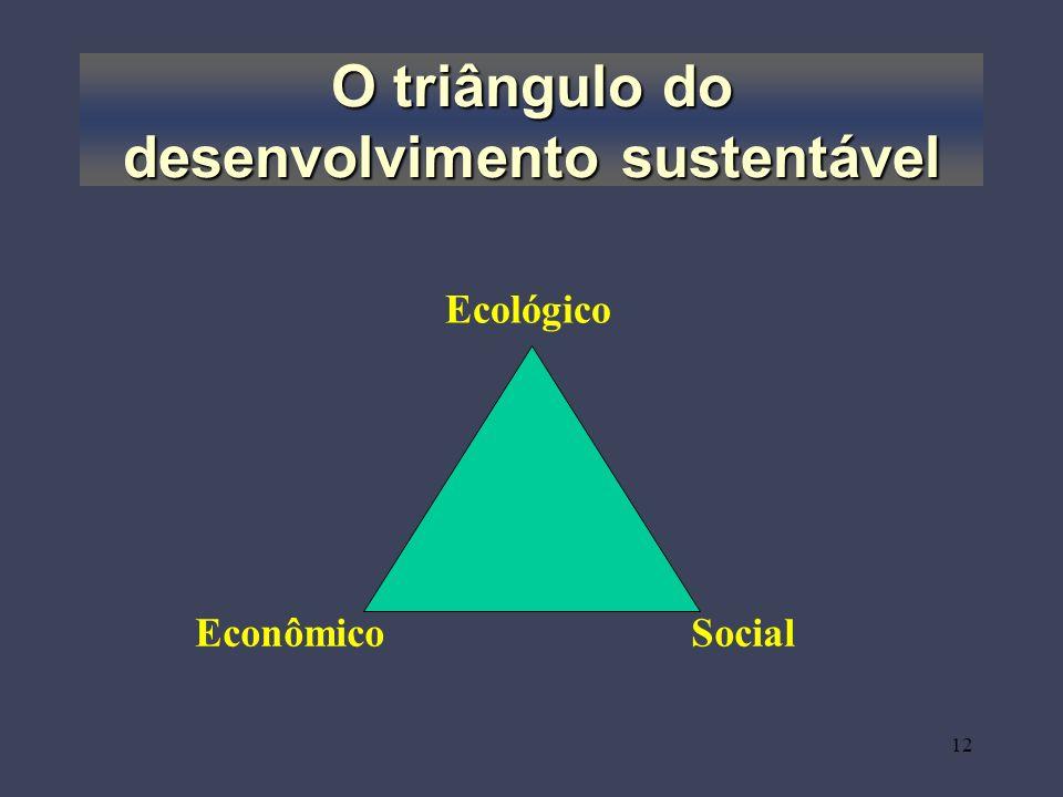 12 O triângulo do desenvolvimento sustentável Ecológico EconômicoSocial