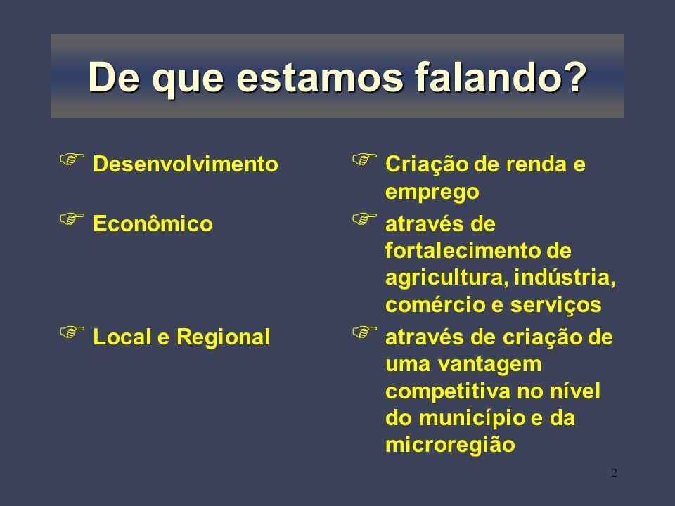 2 De que estamos falando? Desenvolvimento Econômico Local e Regional Criação de renda e emprego através de fortalecimento de agricultura, indústria, c