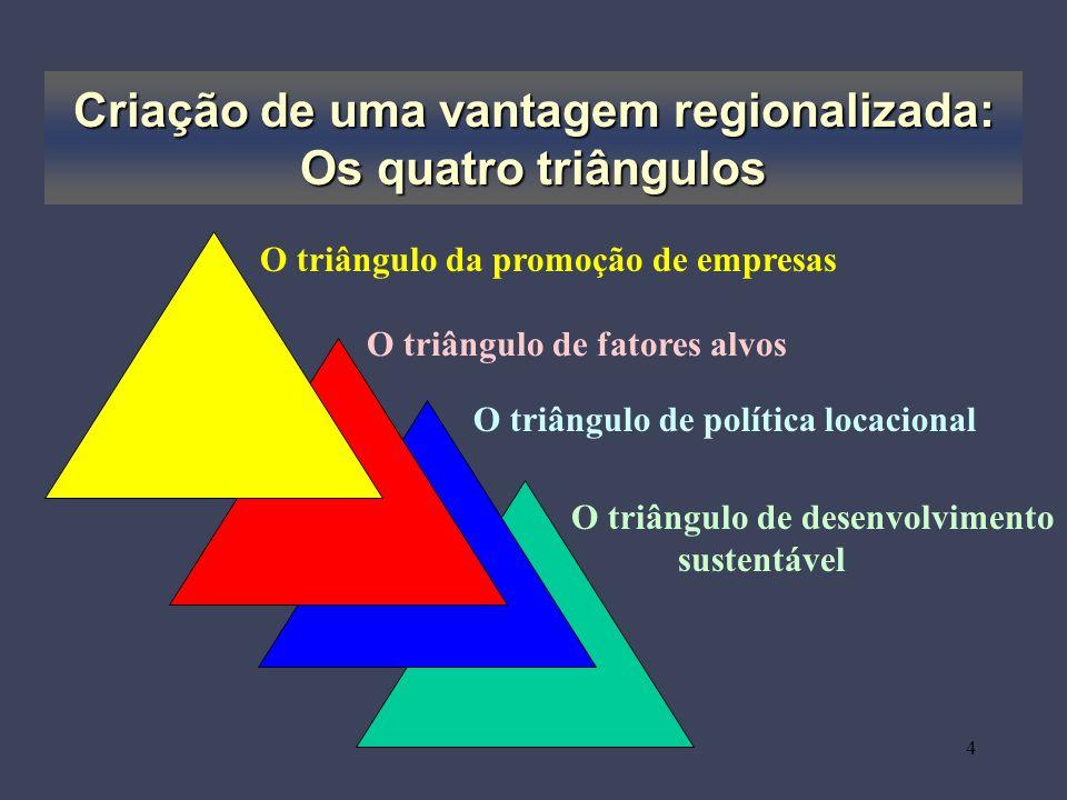 4 Criação de uma vantagem regionalizada: Os quatro triângulos O triângulo da promoção de empresas O triângulo de fatores alvos O triângulo de política locacional O triângulo de desenvolvimento sustentável