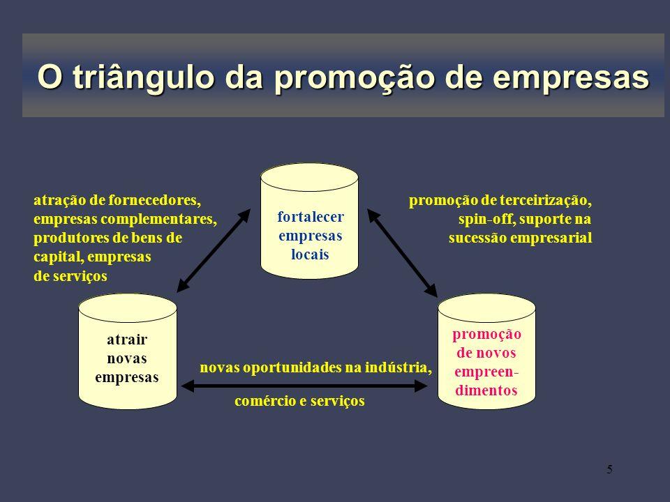 5 O triângulo da promoção de empresas fortalecer empresas locais atrair novas empresas promoção de novos empreen- dimentos promoção de terceirização,