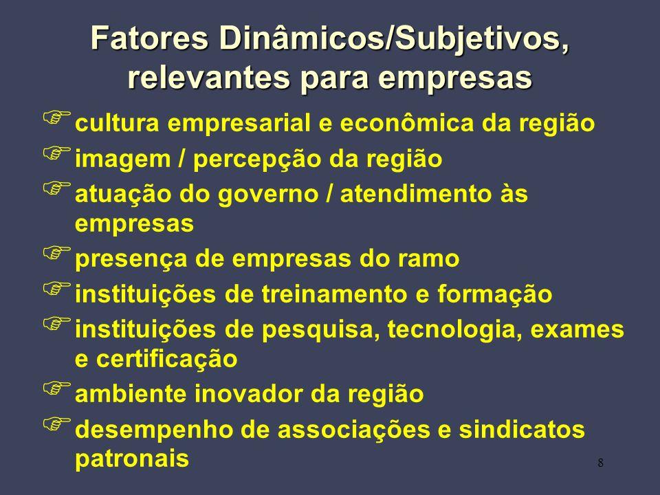 8 Fatores Dinâmicos/Subjetivos, relevantes para empresas cultura empresarial e econômica da região imagem / percepção da região atuação do governo / a