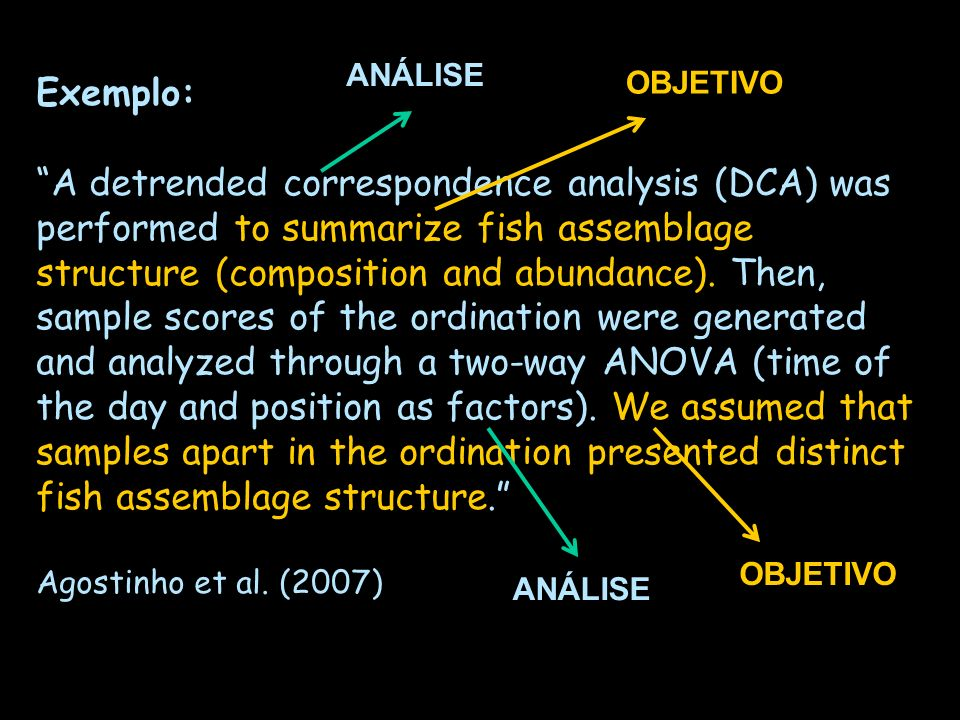 Exemplo: A detrended correspondence analysis (DCA) was performed to summarize fish assemblage structure (composition and abundance). Then, sample scor