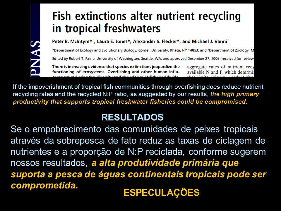 If the impoverishment of tropical fish communities through overfishing does reduce nutrient recycling rates and the recycled N:P ratio, as suggested b