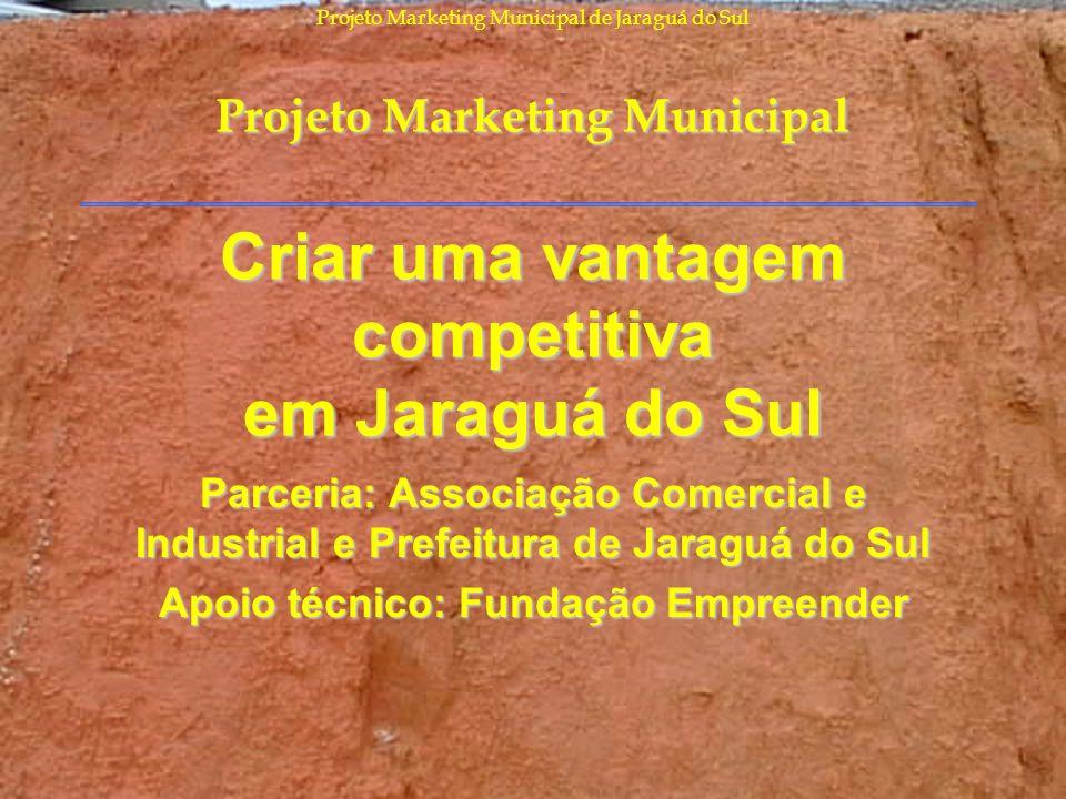 Projeto Marketing Municipal de Jaraguá do Sul Criar uma vantagem competitiva em Jaraguá do Sul Parceria: Associação Comercial e Industrial e Prefeitur