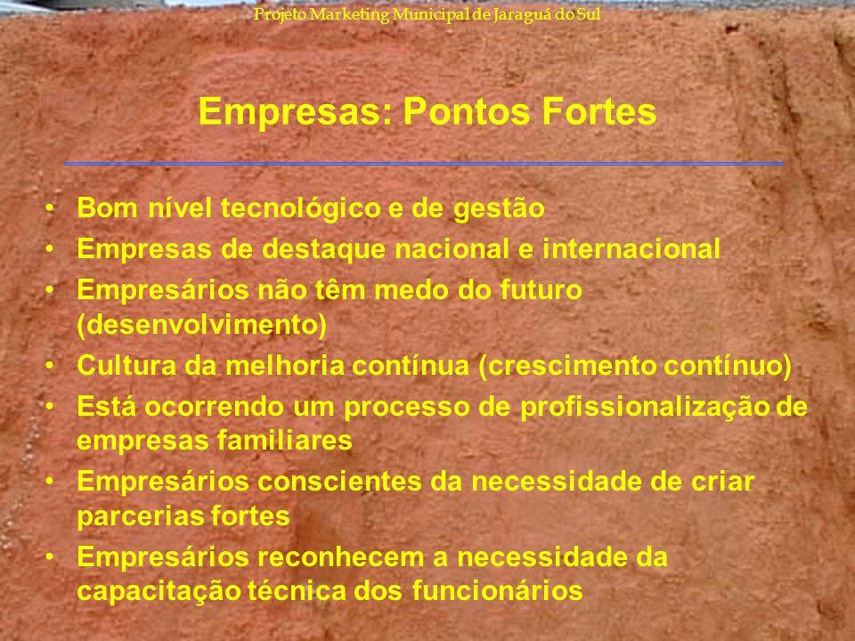 Projeto Marketing Municipal de Jaraguá do Sul Empresas: Pontos Fortes Bom nível tecnológico e de gestão Empresas de destaque nacional e internacional