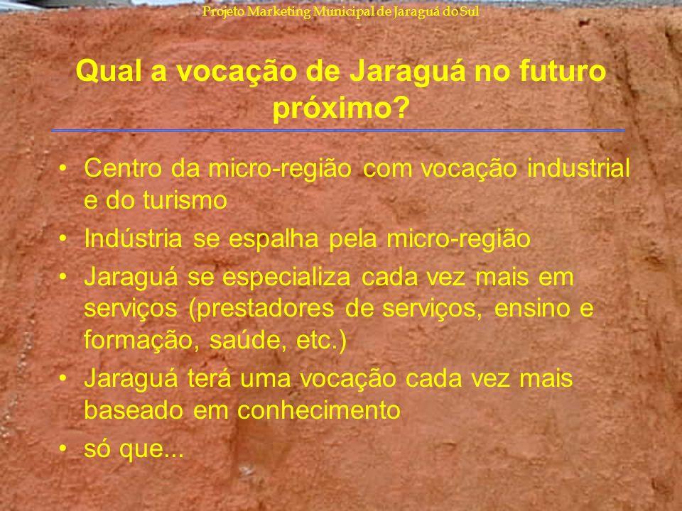 Projeto Marketing Municipal de Jaraguá do Sul Qual a vocação de Jaraguá no futuro próximo? Centro da micro-região com vocação industrial e do turismo