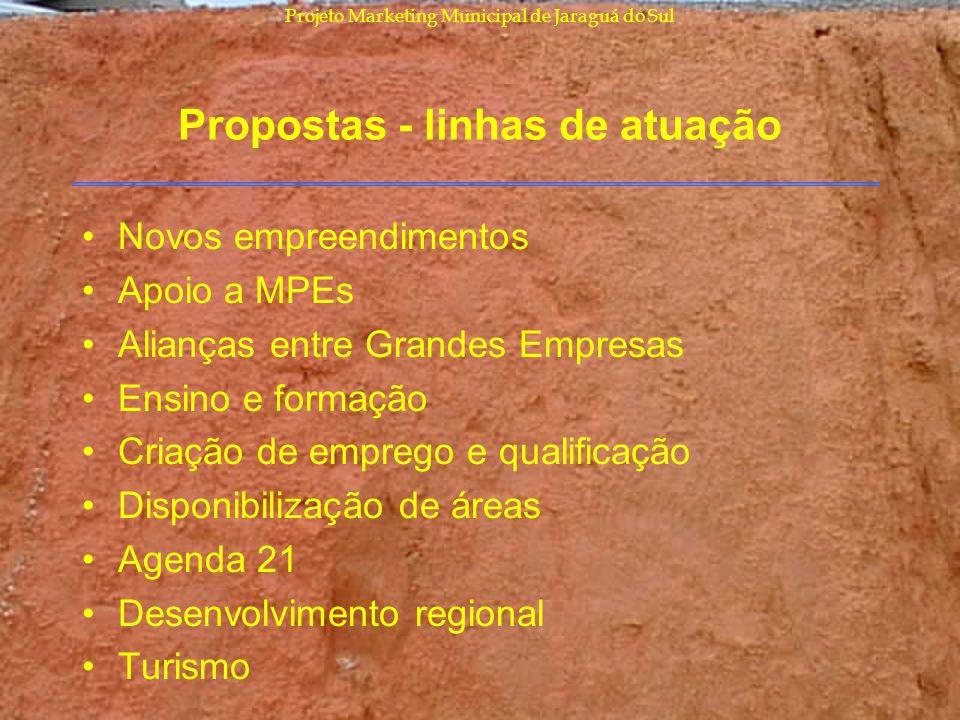 Projeto Marketing Municipal de Jaraguá do Sul Propostas - linhas de atuação Novos empreendimentos Apoio a MPEs Alianças entre Grandes Empresas Ensino