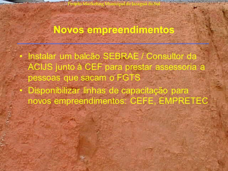 Projeto Marketing Municipal de Jaraguá do Sul Novos empreendimentos Instalar um balcão SEBRAE / Consultor da ACIJS junto à CEF para prestar assessoria