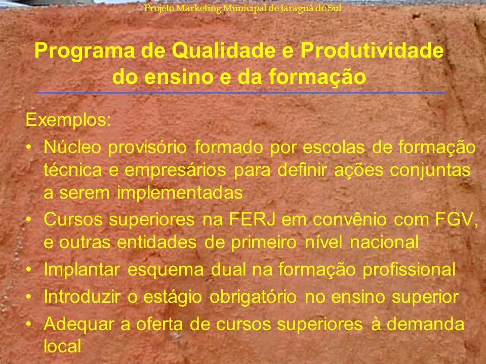 Projeto Marketing Municipal de Jaraguá do Sul Programa de Qualidade e Produtividade do ensino e da formação Exemplos: Núcleo provisório formado por es