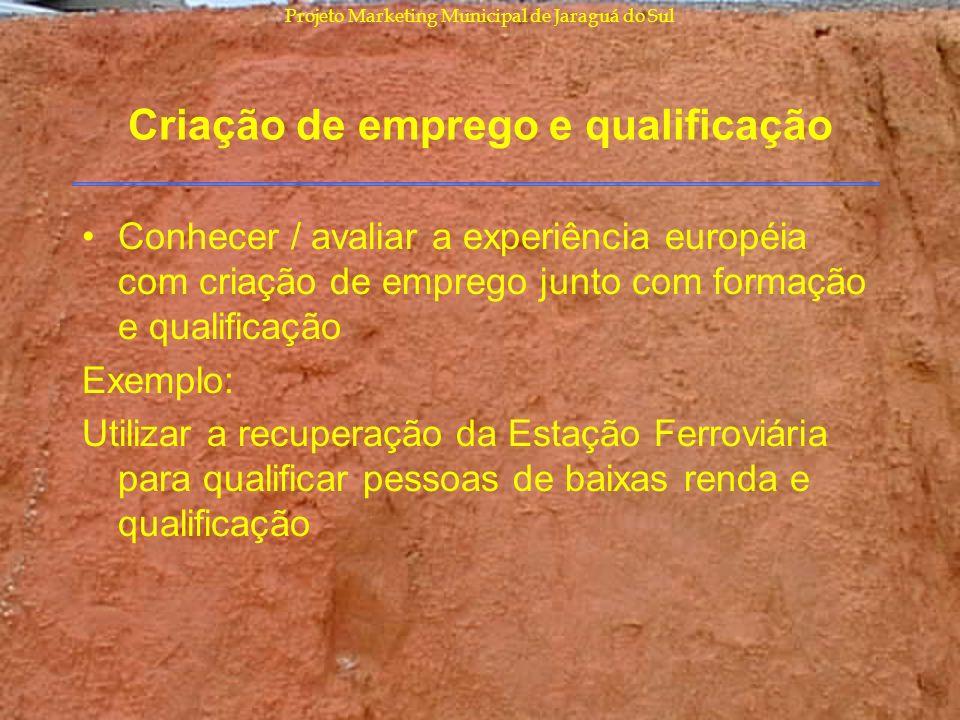 Projeto Marketing Municipal de Jaraguá do Sul Criação de emprego e qualificação Conhecer / avaliar a experiência européia com criação de emprego junto