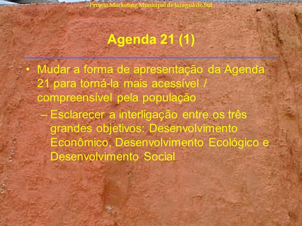 Projeto Marketing Municipal de Jaraguá do Sul Agenda 21 (1) Mudar a forma de apresentação da Agenda 21 para torná-la mais acessível / compreensível pe