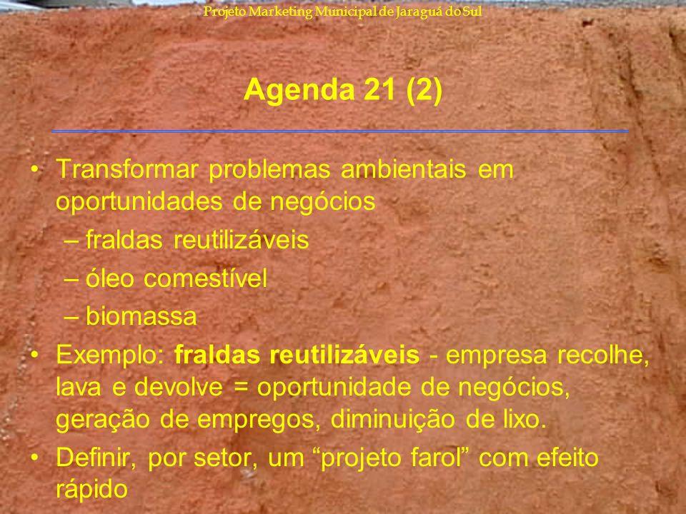 Projeto Marketing Municipal de Jaraguá do Sul Agenda 21 (2) Transformar problemas ambientais em oportunidades de negócios –fraldas reutilizáveis –óleo