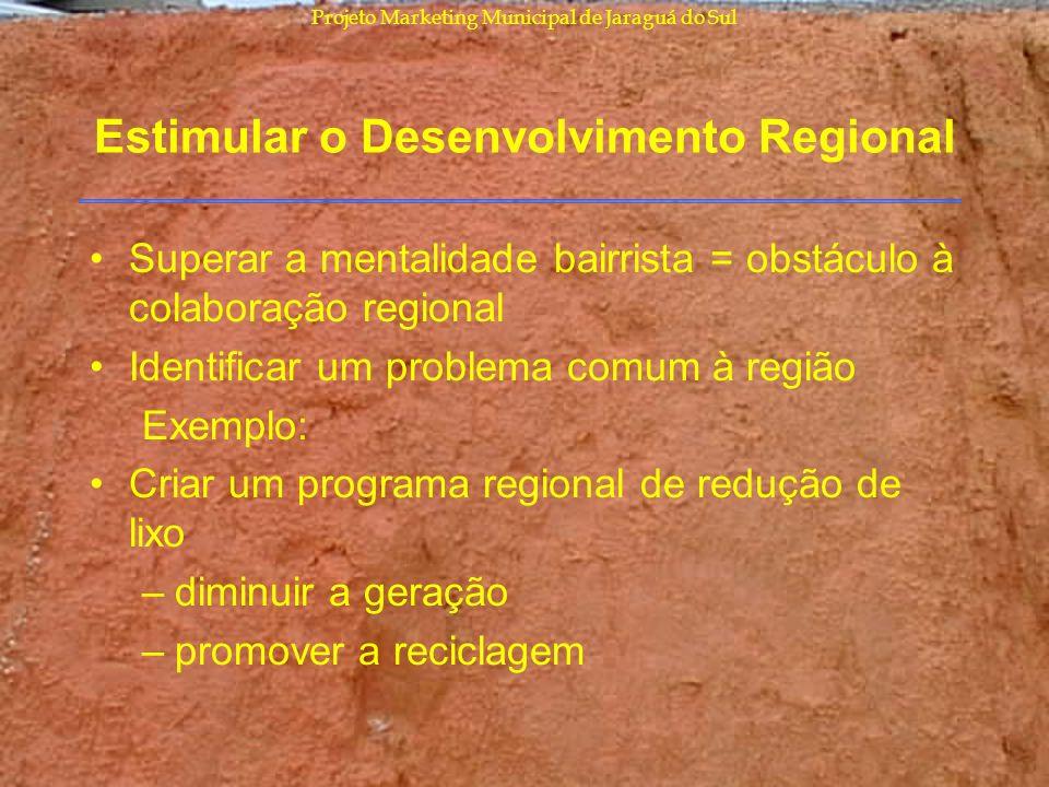 Projeto Marketing Municipal de Jaraguá do Sul Estimular o Desenvolvimento Regional Superar a mentalidade bairrista = obstáculo à colaboração regional