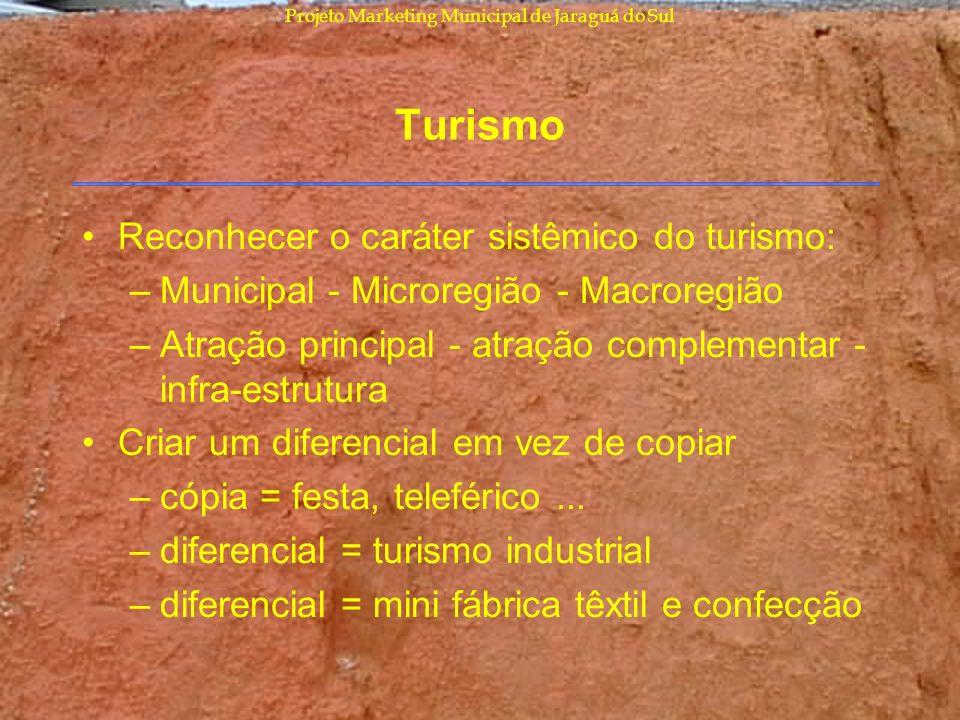Projeto Marketing Municipal de Jaraguá do Sul Turismo Reconhecer o caráter sistêmico do turismo: –Municipal - Microregião - Macroregião –Atração princ