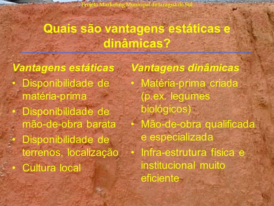 Projeto Marketing Municipal de Jaraguá do Sul Quais são vantagens estáticas e dinâmicas? Vantagens estáticas Disponibilidade de matéria-prima Disponib