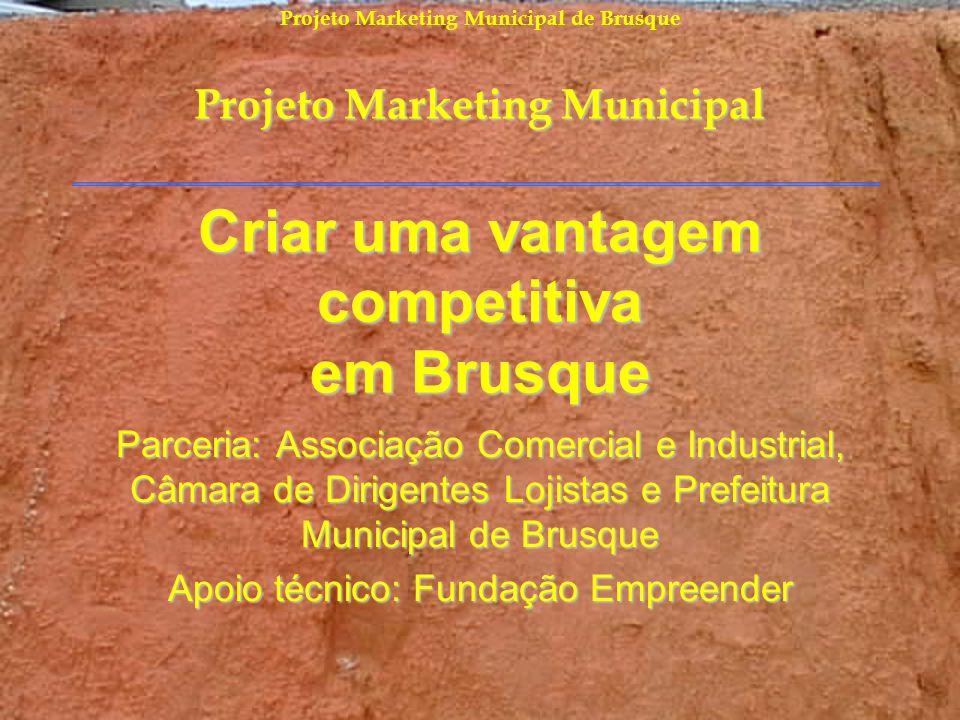 Projeto Marketing Municipal de Brusque Criar uma vantagem competitiva em Brusque Parceria: Associação Comercial e Industrial, Câmara de Dirigentes Loj