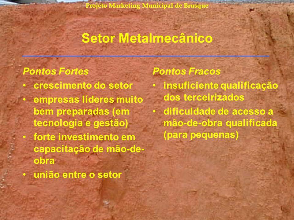 Projeto Marketing Municipal de Brusque Setor Metalmecânico Pontos Fortes crescimento do setor empresas líderes muito bem preparadas (em tecnologia e g