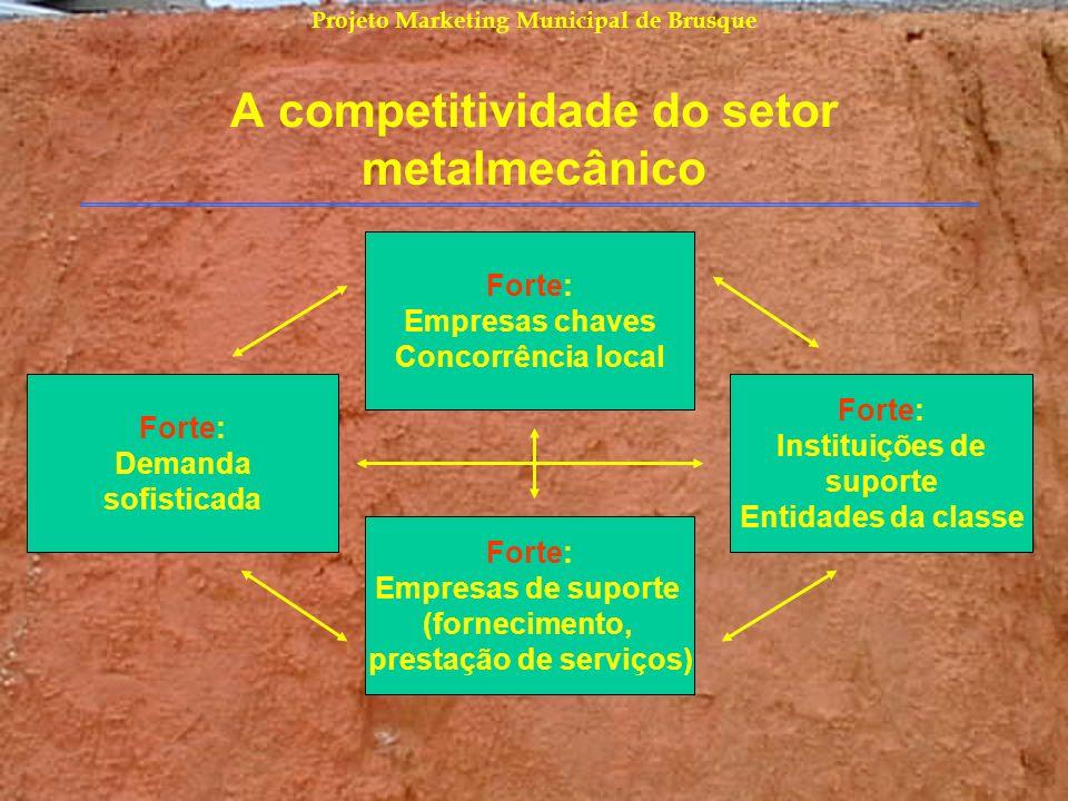 Projeto Marketing Municipal de Brusque A competitividade do setor metalmecânico Forte: Empresas chaves Concorrência local Forte: Demanda sofisticada F