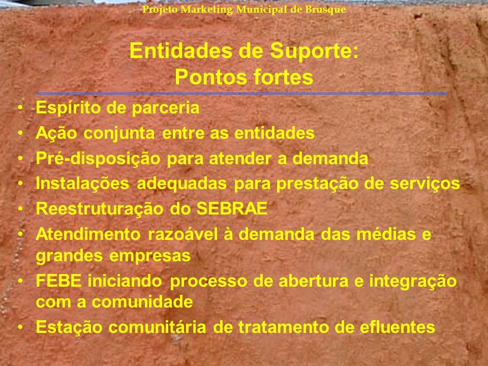 Projeto Marketing Municipal de Brusque Entidades de Suporte: Pontos fortes Espírito de parceria Ação conjunta entre as entidades Pré-disposição para a