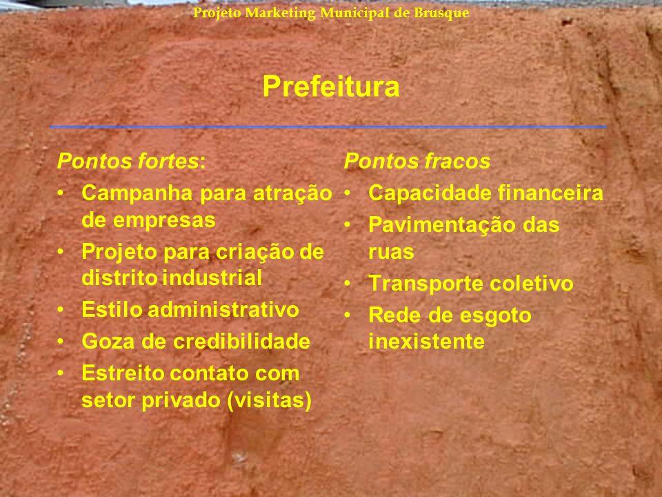 Projeto Marketing Municipal de Brusque Prefeitura Pontos fortes: Campanha para atração de empresas Projeto para criação de distrito industrial Estilo