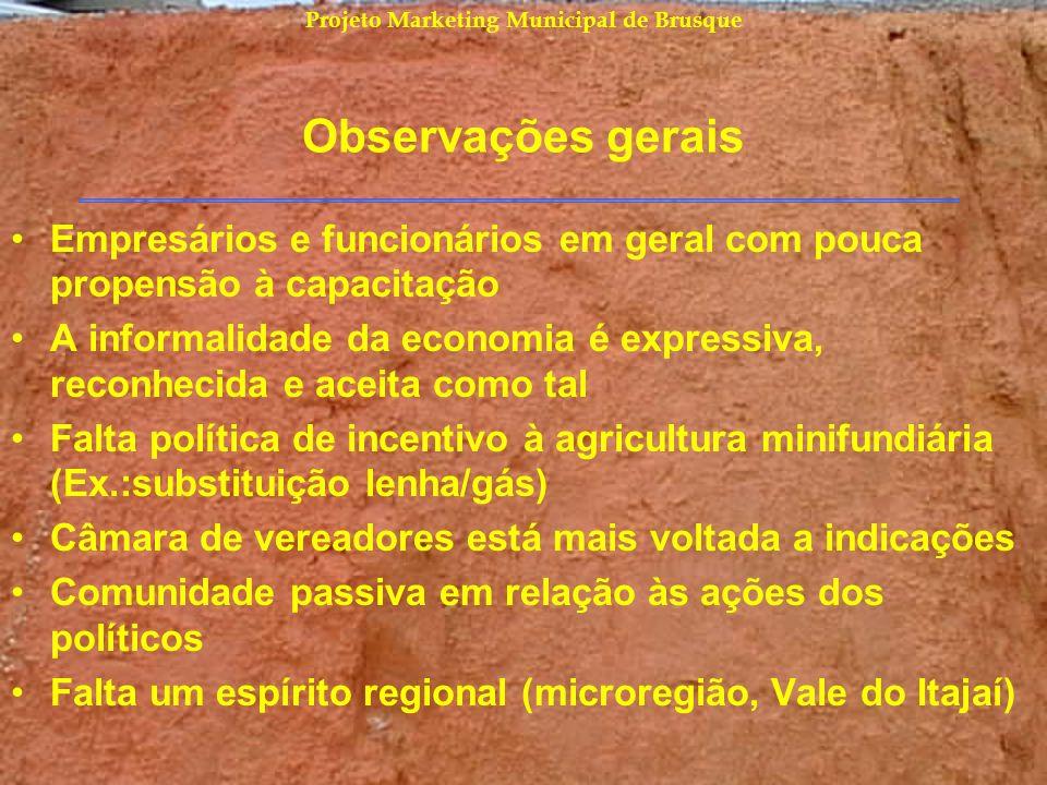 Projeto Marketing Municipal de Brusque Observações gerais Empresários e funcionários em geral com pouca propensão à capacitação A informalidade da eco