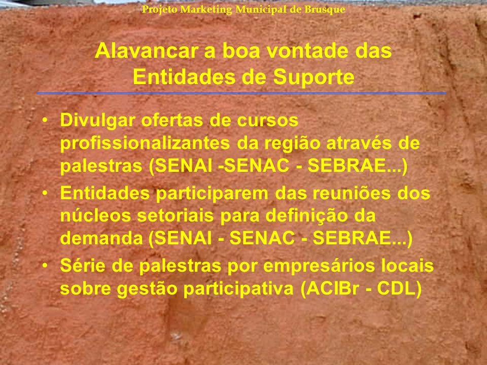 Projeto Marketing Municipal de Brusque Alavancar a boa vontade das Entidades de Suporte Divulgar ofertas de cursos profissionalizantes da região atrav
