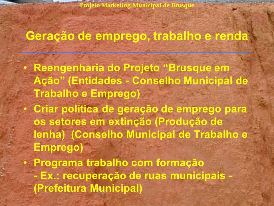 Projeto Marketing Municipal de Brusque Geração de emprego, trabalho e renda Reengenharia do Projeto Brusque em Ação (Entidades - Conselho Municipal de