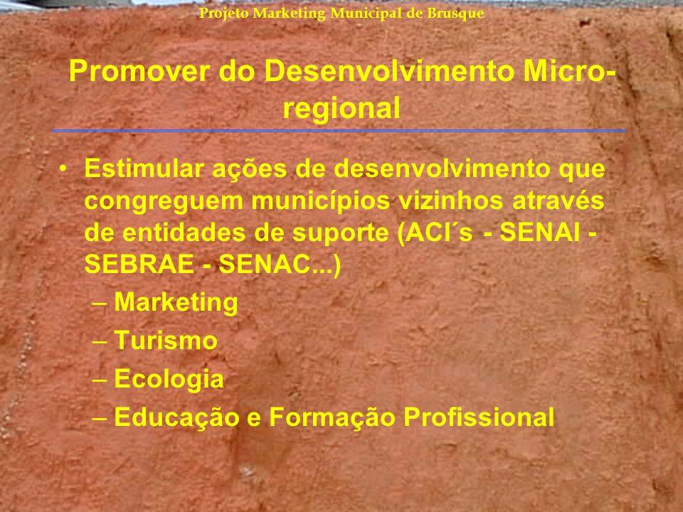 Projeto Marketing Municipal de Brusque Promover do Desenvolvimento Micro- regional Estimular ações de desenvolvimento que congreguem municípios vizinh