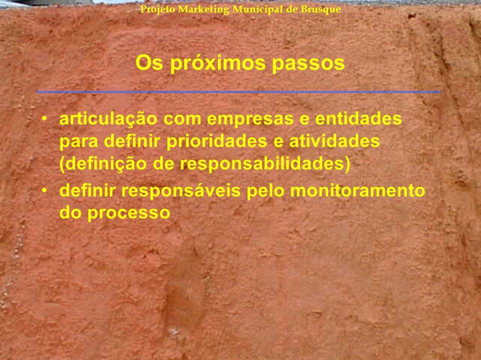 Projeto Marketing Municipal de Brusque Os próximos passos articulação com empresas e entidades para definir prioridades e atividades (definição de res