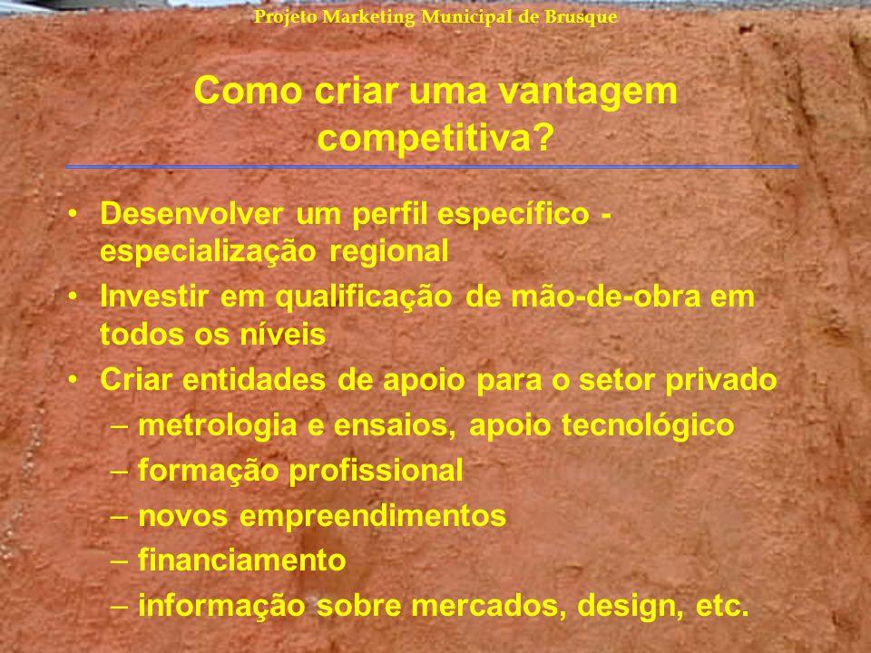 Projeto Marketing Municipal de Brusque Como criar uma vantagem competitiva? Desenvolver um perfil específico - especialização regional Investir em qua