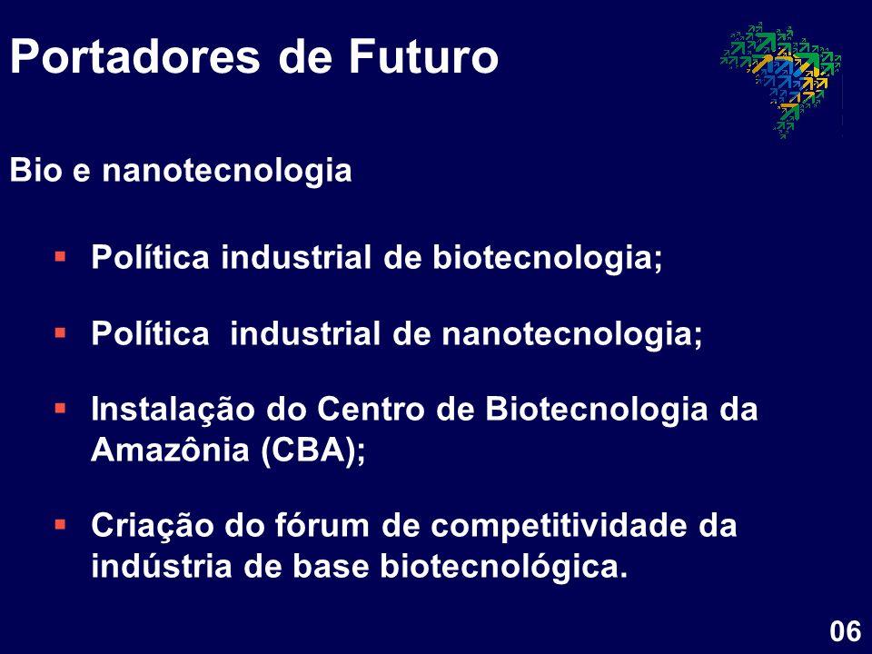 Portadores de Futuro Bio e nanotecnologia Política industrial de biotecnologia; Política industrial de nanotecnologia; Instalação do Centro de Biotecn