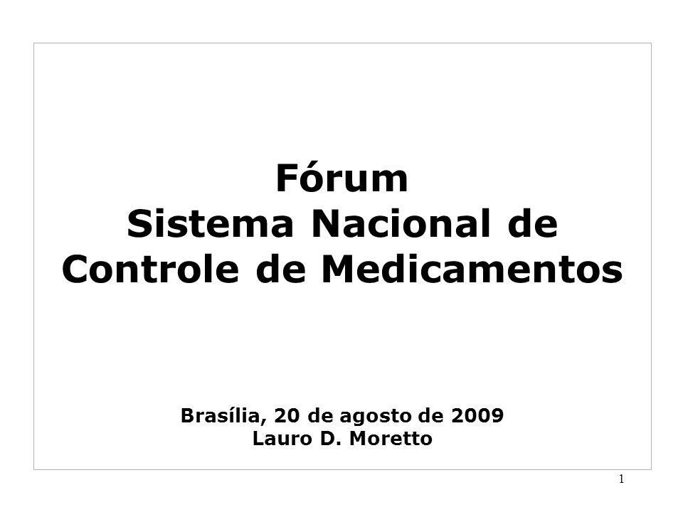 Fórum Sistema Nacional de Controle de Medicamentos Brasília, 20 de agosto de 2009 Lauro D. Moretto 1