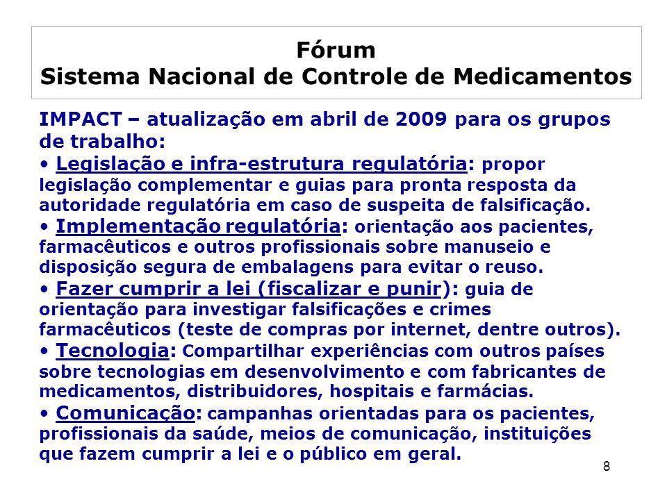 8 IMPACT – atualização em abril de 2009 para os grupos de trabalho: Legislação e infra-estrutura regulatória: propor legislação complementar e guias p
