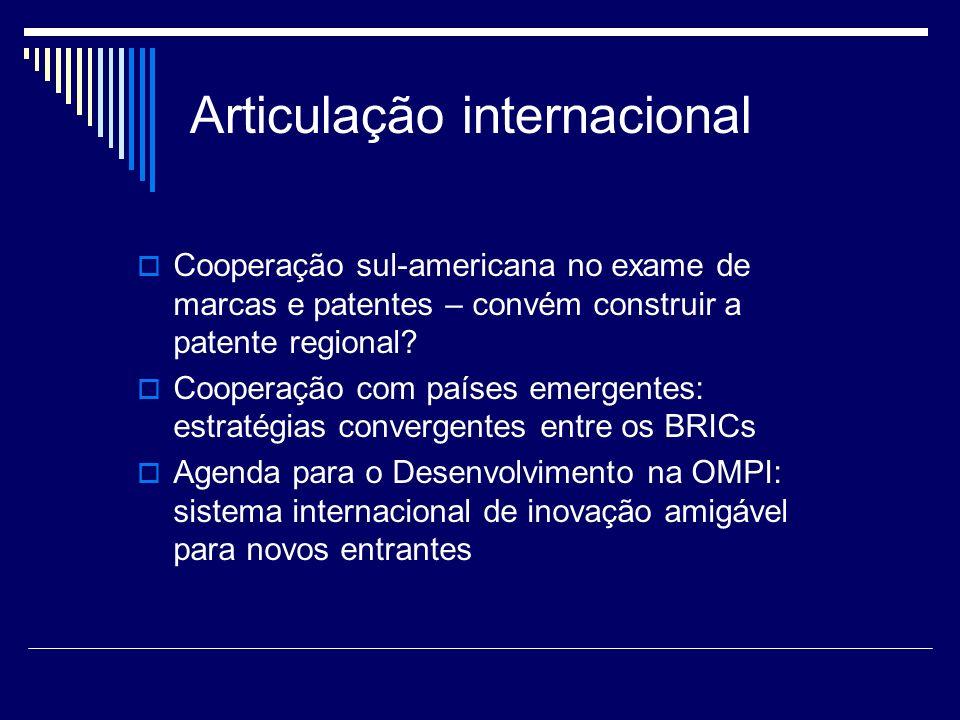 Articulação internacional Cooperação sul-americana no exame de marcas e patentes – convém construir a patente regional? Cooperação com países emergent