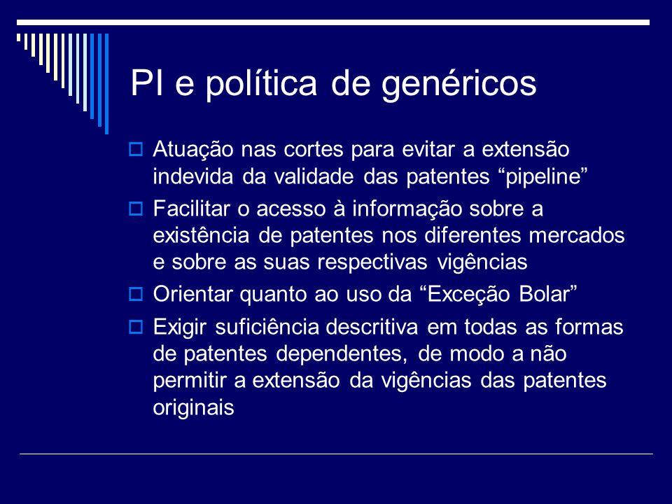 PI e política de genéricos Atuação nas cortes para evitar a extensão indevida da validade das patentes pipeline Facilitar o acesso à informação sobre