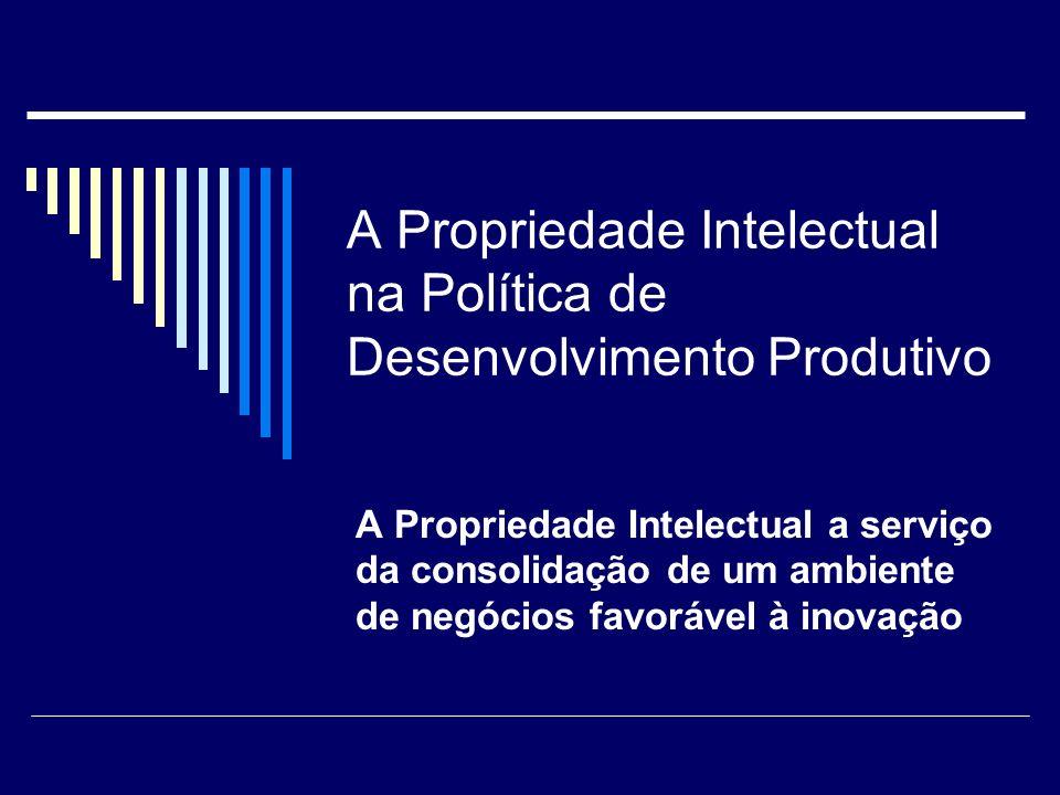 A Propriedade Intelectual na Política de Desenvolvimento Produtivo A Propriedade Intelectual a serviço da consolidação de um ambiente de negócios favo