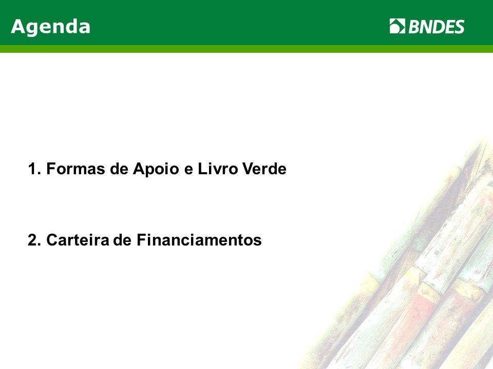 LIVRO VERDE DO ETANOL 2 Agenda 1.Formas de Apoio e Livro Verde 2.Carteira de Financiamentos