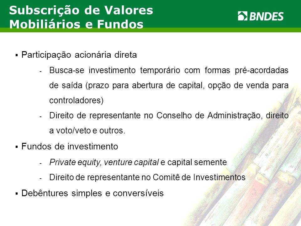 LIVRO VERDE DO ETANOL 8 Participação acionária direta - Busca-se investimento temporário com formas pré-acordadas de saída (prazo para abertura de cap