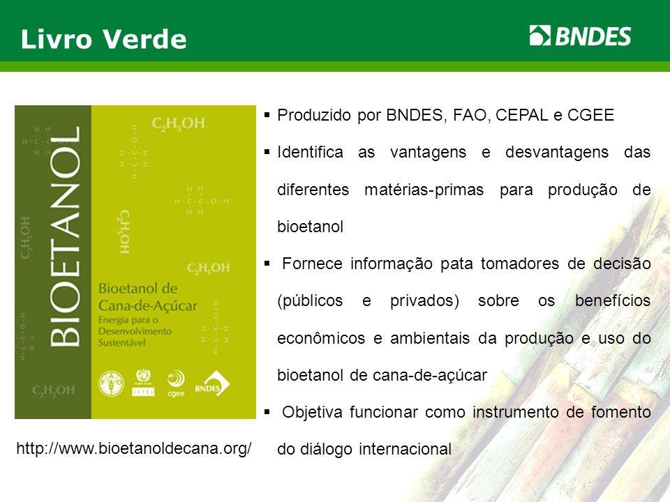 LIVRO VERDE DO ETANOL 9 Produzido por BNDES, FAO, CEPAL e CGEE Identifica as vantagens e desvantagens das diferentes matérias-primas para produção de