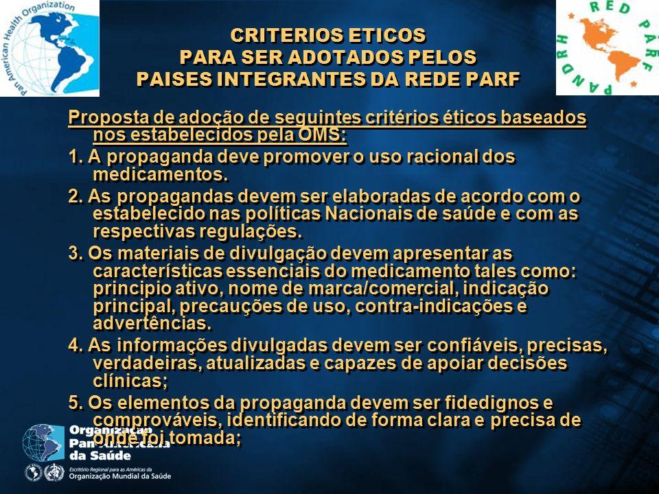 CRITERIOS ETICOS PARA SER ADOTADOS PELOS PAISES INTEGRANTES DA REDE PARF Proposta de adoção de seguintes critérios éticos baseados nos estabelecidos p