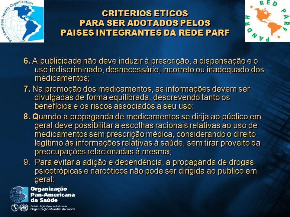 CRITERIOS ETICOS PARA SER ADOTADOS PELOS PAISES INTEGRANTES DA REDE PARF 6. A publicidade não deve induzir à prescrição, a dispensação e o uso indiscr