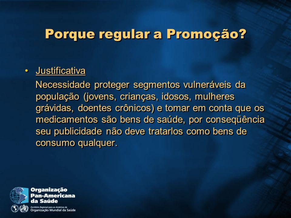Porque regular a Promoção? Justificativa Necessidade proteger segmentos vulneráveis da população (jovens, crianças, idosos, mulheres grávidas, doentes