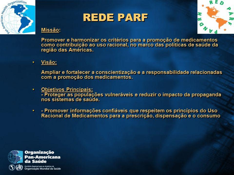 REDE PARF Missão: Promover e harmonizar os critérios para a promoção de medicamentos como contribuição ao uso racional, no marco das políticas de saúd