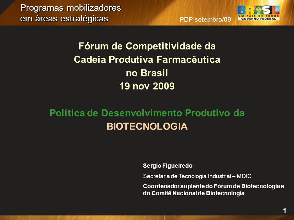 PDP setembro/09 1 Programas mobilizadores em áreas estratégicas Fórum de Competitividade da Cadeia Produtiva Farmacêutica no Brasil 19 nov 2009 Políti