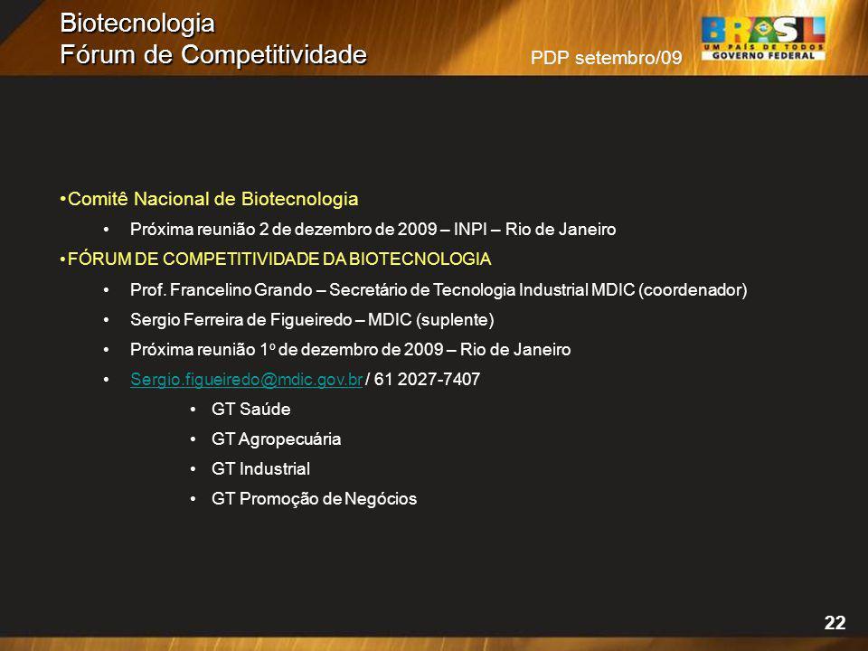 PDP setembro/09 Biotecnologia Fórum de Competitividade 22 Comitê Nacional de Biotecnologia Próxima reunião 2 de dezembro de 2009 – INPI – Rio de Janei