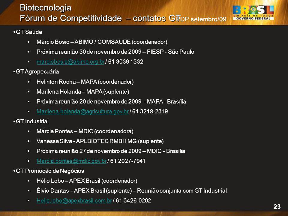 PDP setembro/09 Biotecnologia Fórum de Competitividade – contatos GT 23 GT Saúde Márcio Bosio – ABIMO / COMSAUDE (coordenador) Próxima reunião 30 de n