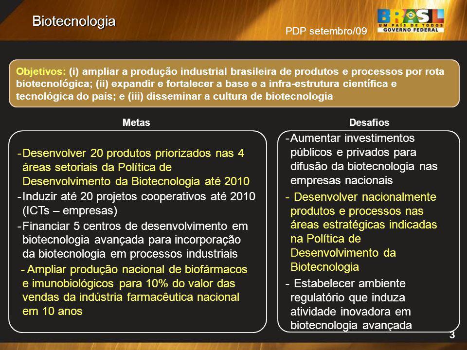 PDP setembro/09 3 Objetivos: (i) ampliar a produção industrial brasileira de produtos e processos por rota biotecnológica; (ii) expandir e fortalecer