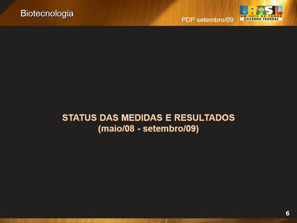 PDP setembro/09 6 Biotecnologia STATUS DAS MEDIDAS E RESULTADOS (maio/08 - setembro/09)