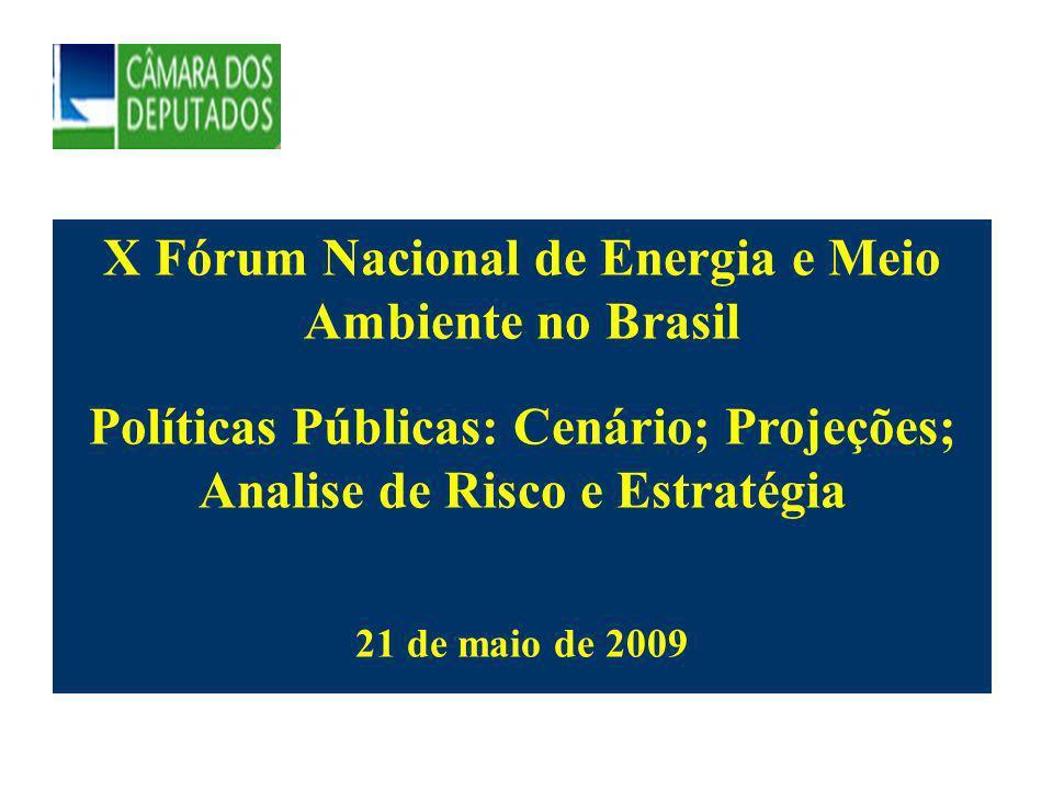 X Fórum Nacional de Energia e Meio Ambiente no Brasil Políticas Públicas: Cenário; Projeções; Analise de Risco e Estratégia 21 de maio de 2009