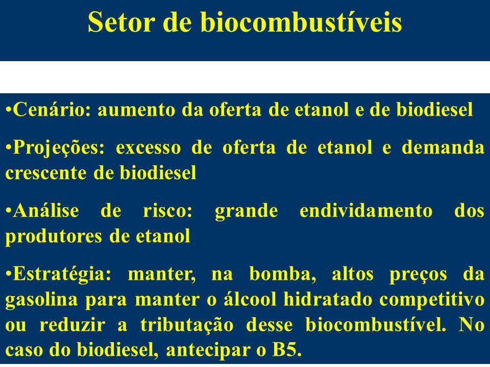 Setor de biocombustíveis Cenário: aumento da oferta de etanol e de biodiesel Projeções: excesso de oferta de etanol e demanda crescente de biodiesel A